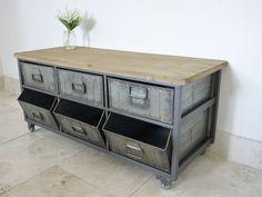 Large Retro Industrial Metal & Wood Storage Unit./Cabinet