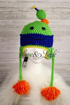 Bot Robot Crochet Hat with Ear flaps and by LoveandLuckCrochet, $30.00