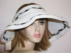 bee96ad6c3ae3 Ladies Wide Brim Sun Visor Hat Jomni White Packable Roll Up VI25Wht  BSB   Visor