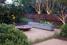 Garden Design Designed by Christopher Owen Landscape Design. Silver Medal winning garden 'Tread Lightly' at the Australian Garden Show Sydney. Garden Fire Pit, Fire Pit Backyard, Garden Show, Diy Garden, Garden Tips, Tree Garden, Back Gardens, Outdoor Gardens, Outdoor Rooms