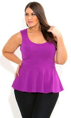 City Chic - SLEEVESLESS PEPLUM TOP - Women's plus size fashion