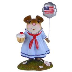 WFF# M-487a Patriotic Beach Mouse LTD 2016 Wee Forest Folk CONCH FOR FREEDOM