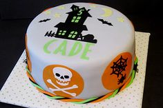 Halloween Cake made using gum paste and my Silhouette.