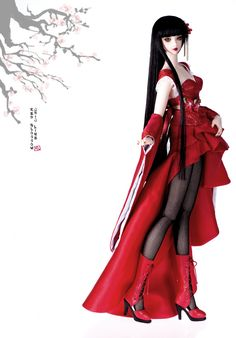 Red Blossom for ChicLine Girl(37cm use size)|DOLKSTATION - Ball Jointed Dolls Shop - Shop of BJD Dolls