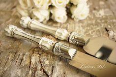 Rustic Wedding Cake Server Set & Knife Cake Cutting by LaivaArt