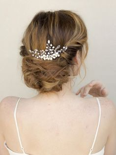 """Delicate Crystal, Pearl and Rhinestone Beaded Bridal Hair Comb - """"Cherise"""" - Bridal Hair Accessories and Wedding Headpieces by Hair Comes the Bride"""