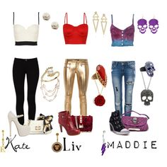 """""""Kate, Liv, Maddie: Bralets and Belly Rings"""" by pandacat on Polyvore"""