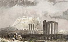 Greece The Temple of Jupiter Olympus at Athens Collages, Grafik Art, Acropolis, Athens Greece, Antique Prints, Ancient Greek, Olympus, Monuments, Temple