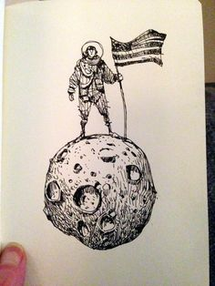 Ian McQue on Twitter: Couldn't let today's moon landing anniversary pass without doing a Spacedude. On a moon. http://t.co/9AKUeyZynR