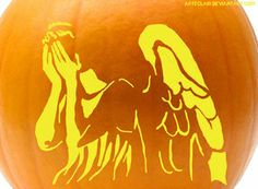 weeping angel pumpkin stencil - can you imagine? This on the way to the house, and a scary angel as they leave?