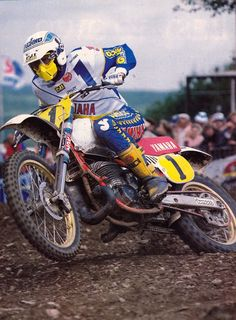 Motocross # vintage 80's # Hakan Carlqvist 01 #yamaha. The coolest part of this pic is the front forks.