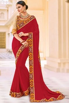 Embroidered Georgette Fancy Designer Saree with Lace Border In Maroon