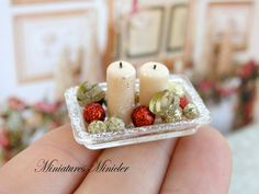Adornos de Navidad de casa de muñecas miniatura con por Minicler