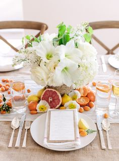 Love, lemons, tangerines and a beautiful citrus tablescape. Design & Styling: @Beth Helmstetter