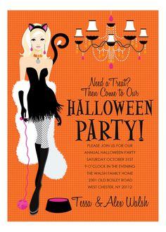 Blonde Here Kitty Halloween Invitation from Doc Milo