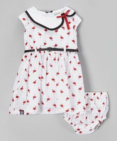 Another great find on #zulily! White Flamingo Belted Dress & Diaper Cover - Infant by Rococo #zulilyfinds