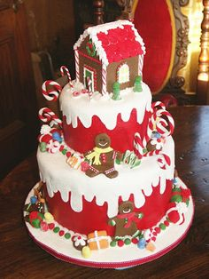 Red Tiered Gingerbread Themed Holiday Cake