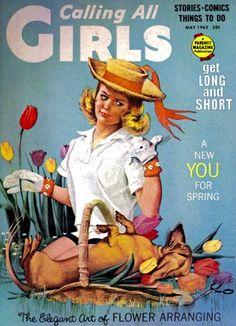 Vintage Calling All Girls magazine - Dachshund helps a girl garden - tulips