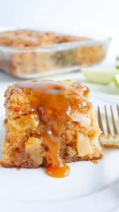 Apple Cake With A Caramel Glaze is the most incredible dessert for fall! The moist cake is spiced to perfection and envelopes the most tender apples. It's then drizzled with the easiest caramel glaze to finish it all off.