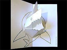 Libros Pop-Up Books Cards: Como Hacer una Tarjeta Pop-Up de Tiburón