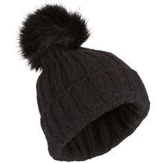 73394daed0559c Miss Selfridge Black Fur Pom Beanie ($15) ❤ liked on Polyvore featuring  accessories, hats, black, pom pom beanie, fur beanie hat, beanie hat, fur  pom-pom ...