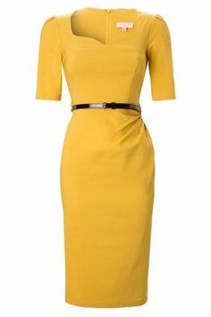 Pencil dress in Mustard 1/2 sleeve