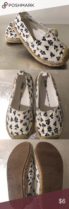 Gap Floral Espadrilles I loved these so much I bought them in 3 different sizes. Gap white espadrilles with navy blue flowers. Adorable! These have been worn a few times but still have a lot of life left. GAP Shoes