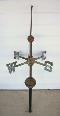 Antique Weathervane Brass N.,s. & E.,w. Directionals + Copper Balls + Rod