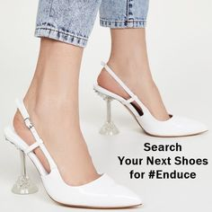 A sophisticated pair of statement slingbacks, these white/clear pumps combine a classic patent leather upper with a clear, sculpted stiletto heel for a bold, event-ready look. Suede Sandals, Suede Heels, Stiletto Heels, High Heels, Next Shoes, Women's Shoes, Unique Shoes, Slingbacks, Shoes