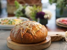Pull-Apart Garlic Bread with Asiago Cheese recipe from Valerie Bertinelli via Food Network