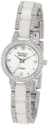 Armitron NOW Women's 753919WTSV Swarovski Crystal Accented Silver-Tone and White Ceramic Watch Armitron. $48.74. Silver-tone and white ceramic case accented with 50 Swarovski crystals. Glossy white dial with silver-tone Roman numerals at 12-3-6-9; Silver-tone dot index markers. Silver-tone hour hands; Sweep second hand. Silver-tone adjustable link bracelet with a total of eight white ceramic center links