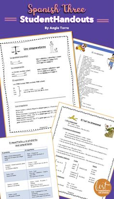 This product provides the students with clear grammar explanations with examples, lists of vocabulary and related expressions, conjugation charts, cheat-sheets, graphic organizers, language in context, and lists of verbs. May be used with or without a textbook. All Spanish Three Concepts are covered.  Click here to see the concepts. #SpanishThreeGrammar #SpanishVocabulary #SpanishCheatSheets Spanish Grammar, Spanish Vocabulary, Teaching Spanish, Conjugation Chart, High School Spanish, Spanish Class, Teachers Toolbox, Spanish Lessons, Graphic Organizers