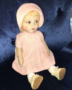 "Antique 1920s Gre Poir 17"" cloth doll Lenci"