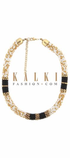 Buy Online from the link below. We ship worldwide (Free Shipping over US$100) Price-$19 Click Anywhere to Tag http://www.kalkifashion.com/white-gold-and-black-earring-embellished-in-moti-embroidery-only-on-kalki.html