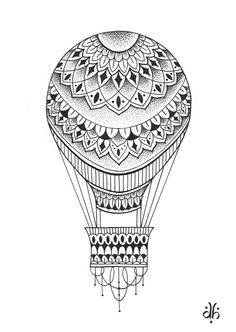Hot air balloon colouring page
