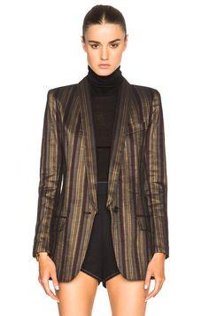 Image 1 of Smythe Long Shawl Blazer in Burgundy Stripe