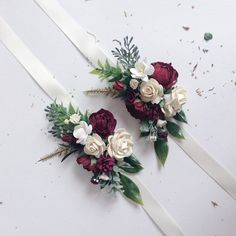 Excited to share the latest addition to my #etsy shop: Burgundy and ivory flower corsage, Floral wrist corsages, Maroon wrist corsages, Bridesmaids corsages,  Wedding bracelets,  Bridal bracelet