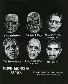 Don Post Studios Universal Monster Masks Horror Monsters, Scary Monsters, Famous Monsters, Classic Monster Movies, Classic Monsters, Monster Mask, Frankenstein's Monster, The Modern Prometheus, Halloween Masks