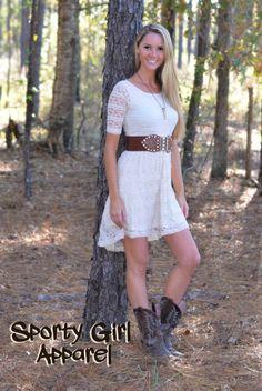 Tan Lace hi-low western dress