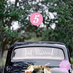 Just Married Next Stop Happily Ever After Wedding Car Window Decal Multiple…
