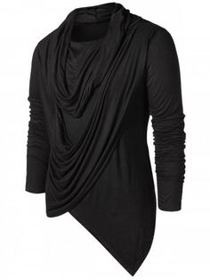 Asymmetric Pile Heap Collar Solid T-shirt - BLACK - M