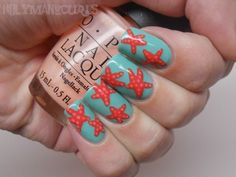 "Holy Manicures: Starfish Nails.  ""The base color is two coats of China Glaze For Audrey with two coats of Essie Turquoise and Caicos on top. The starfish are OPI Hot  & Spicy with OPI Coney Island Cotton Candy for the dots."""