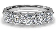 Women's 5-Stone Diamond Wedding Band - in White Gold (1.00 CTW)  OMG, stunning!