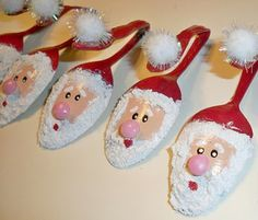 Painted Spoon Ornaments.. Cute!