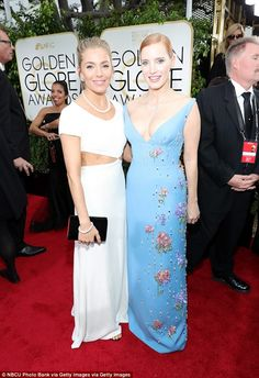 Sienna Miller (in Michael Kors dress) and Jessica Chastain - 2017 Golden Globes Awards in Los Angeles.  (8 January 2017)
