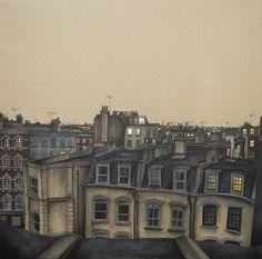 Image result for cottage rooftops at night illustration