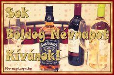 Jack Daniels és borok névnapi képeslap férfiaknak
