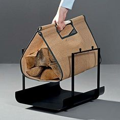 Sägi Kaminholztragetasche / porte bûches / wood log basket / firewood basket / cesto per legna /