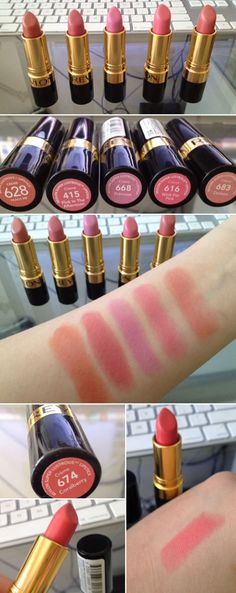 SWATCHES :: Revlon Super Lustrous Creme Lipsticks :: I really like Peach Me (#1), Demure (#5) & Coralberry (last one)! | #blissno9