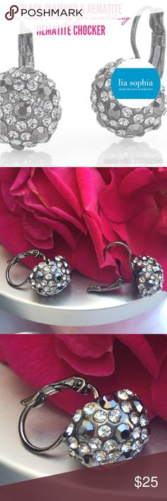 "LIA SOPHIA KIAM BLACK DIAMOND & HEMATITE Earrings LIA SOPHIA from KIAM Family Signature Collection, BLACK DIAMOND & HEMATITE Earrings.   Size: 1/2""ball...7/8"" hang  SEE Listing for HEMATITE Choker Lia Sophia Jewelry Earrings"